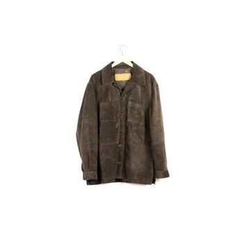 Timberland Brown Suede Leather Jacket / mens size large / weathergear gear / classic /