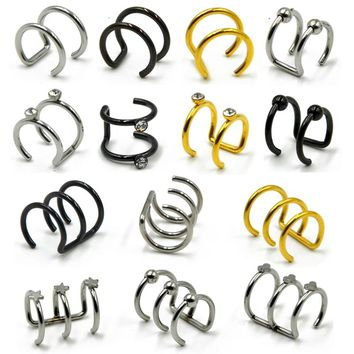 1Pc Stainless Steel Double and Triple Hoop Ear Cuff Clip On Earring Tragus Cartilage Non Piercing Closure Rings Fake No Piercing
