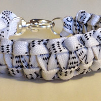Handmade New White Black Retro Hockey Lace Bracelet Cuff- Multiple Sizes Kid's Men's Women's