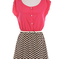 Pink Belted Chevron Bottom Dress