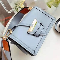 LOEWE Newest Stylish Women Shopping Bag Leather Crossbody Satchel Shoulder Bag Blue