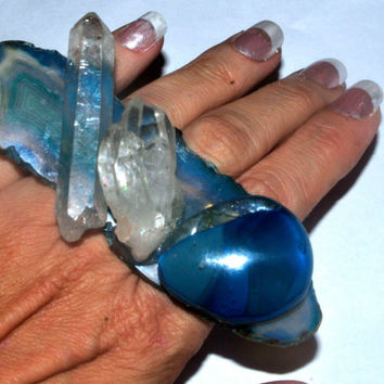 amazing blue agate slices ring with crystals and two tone handblown glass statement ring Agate Slice, Cocktail Ring,Adjustable Ring,  quartz
