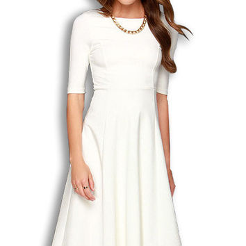 White Half Sleeves Midi Dress