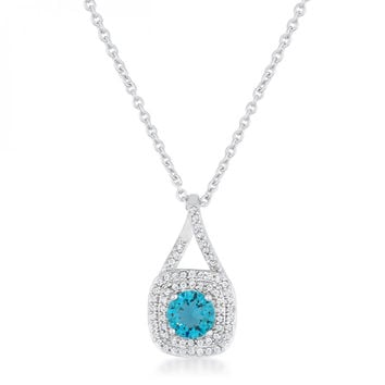 Christal 1.2ct Aqua Czrhodium Classic Necklace