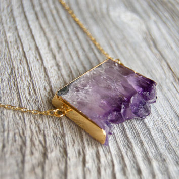 Amethyst Necklace // Gold Plated Raw Amethyst Slice // Amethyst Druzy // Gemstone Necklace // Crystal Necklace // Healing Crystals