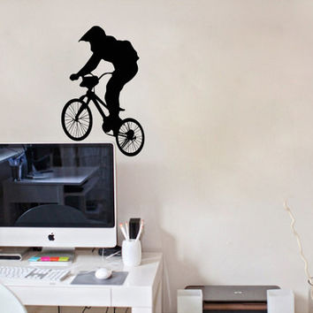 Housewares Wall Vinyl Decal Any Room Bike Sport Jumping Bicycle Cycle Mural Sticker V141