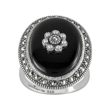 Lavish by TJM Sterling Silver Onyx Flower Ring - Made with Swarovski Marcasite (Black)