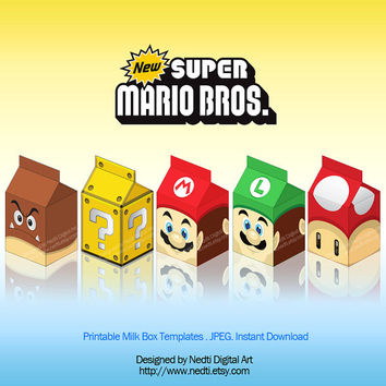 Printable Milk Box Template, Super Mario Bros, Party Supplies, Instant Download, JPEG, A4