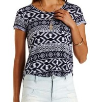 Blue Combo Tribal Print Flyaway Pocket Tee by Charlotte Russe