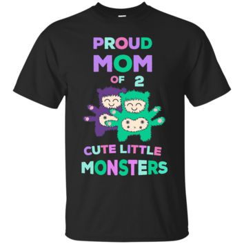 Proud Mom of 2 Cute Monsters Boy Girl Mother's Day T-Shirt_Black