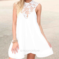 Round Neck Joint Dresses Hollow Out Lace Flower Dress Loose Short Dress