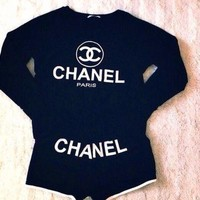 CHANEL Long sleeve umbilical cord casual two sets of temperament shorts sleeve