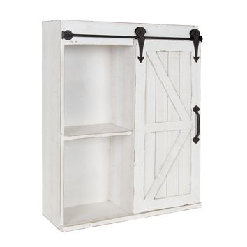 Wall Storage Wood Cabinet with Sliding Barn Door