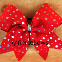Silver and Red Cheer Bow