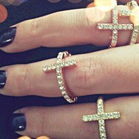 CROSS BEAD RING