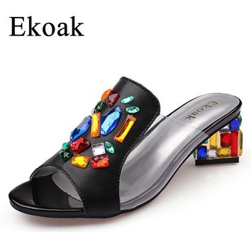 Ekoak New 2017 women High Heels rhinestone Genuine leather Sandals party wedding shoes fashion ladies women dress shoes woman