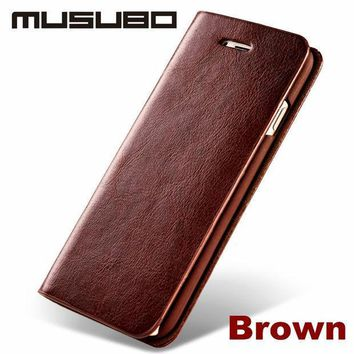 New Luxury Genuine Real Leather Mobile Phone Case For 5 Iphone 6 & 6s Plus & Se  4 Wallet Cover Case With Card Slot Flip Holster
