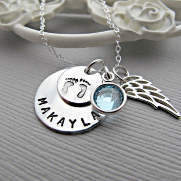 Memorial Necklace, Mommy of an Angel, Pregnancy loss necklace, pregnancy loss jewelry, sympathy gift, personalize jewelry memorial, Baby