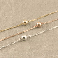 Tiny Circle Ball Necklace, Small Single Bead, Gold Silver Ball Necklace, Gold Silver Bead Necklace, simple gold necklace, elegant ball