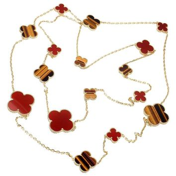 Van Cleef & Arpels Magic Alhambra Carnelian Tiger Eye 16 Motif Long Necklace