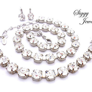 Genuine Swarovski Crystal Necklace, Bracelet, Earrings, or 3 Piece Set, 11mm Clear Chunky Crystals, Assorted Finishes, CLEARLY FABULOUS