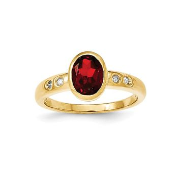 14k Yellow Gold Garnet/diamond Bezel-set Ring