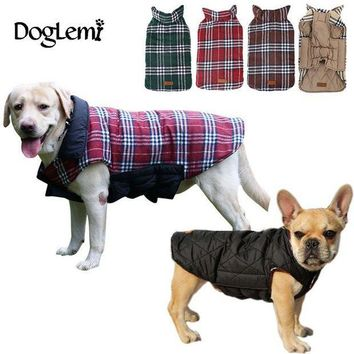 PEAPYV3 2016 Waterproof Reversible Dog Jacket Designer Warm Plaid Winter Dog Coats Pet Clothes Elastic Small to Large Dog Clothes Winter
