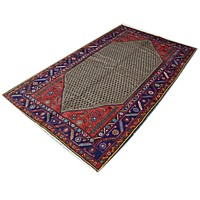 Vintage Hamadan Persian Rug Tribal Pure Wool Rug, Red Brown Blue, 4' x 7'