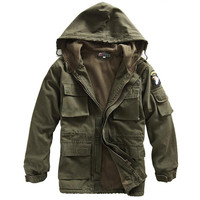 Men's TacVasen Winter Military Army Air Force Thermal Trench With Hood Fleece Lining Military Coat Jacket