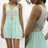 Pretty Mint Dress Crochet Lace Top Sleeveless Mini Skirt Pastel Ladies Fashion