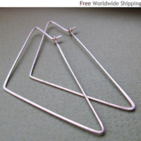 Geometric Triangle Earrings - Elegant and Modern Hoop Earrings 2.5 inch - Sterling Silver Handmade Hoops - Triangle Shaped Earrings - Modern