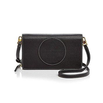Tory Burch Perforated Logo Flat Leather Wallet Crossbody, Black
