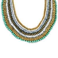Beaded Bib Statement Necklace in Mint