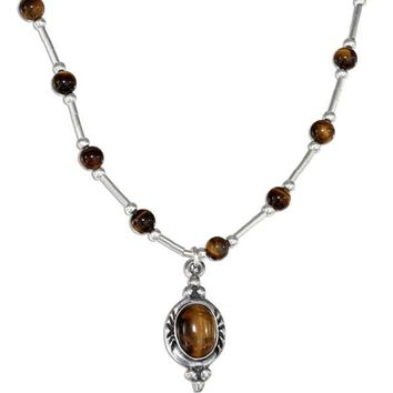 "Sterling Silver 16"" Beaded Liquid Silver Tiger Eye Necklace"