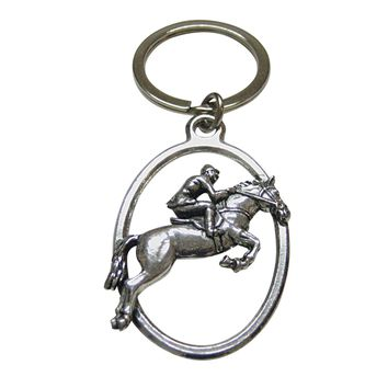 Horse Racing Jockey Oval Key Chain