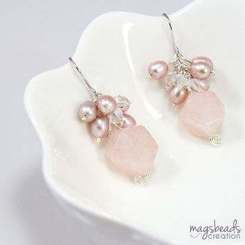 Cluster Pearls and Rose Quartz Earrings, Sterling Silver, Pastel Pink, Mauve, Wedding Jewelry