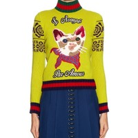 Indie Designs Gucci Inspired Cat Applique Wool Sweater