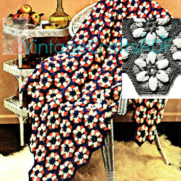 INSTANT DOWNLOAD PDF-Daisy Dell Afghan-1970s Vintage Flower Afghan Pattern-Home Decor-Blanket-Throw-Cover
