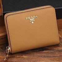 Copy of Prada Women Leather Zipper Wallet Purse G-MYJSY-BB Red