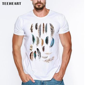 New 2017 Summer Fashion Feather  Design T Shirt Men's High Quality White Modal Tops Hipster Tees Lc001