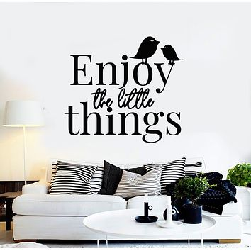 Vinyl Wall Decal Enjoy The Little Things Birds Inspirational Quote Words Stickers Mural (g1370)