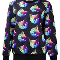 ZLYC Women Starry Galaxy Cat Face Head Novelty Print Sweatshirt Animal Sweater Green Cat