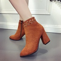 Women Scrub Zip Pointed-toe Rough Heel Short Boots Heels Shoes