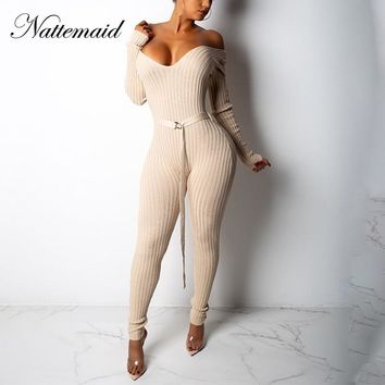 NATTEMAID Off Shoulder Sexy Bodycon Jumpsuits For Women 2018 Rompers Womens Jumpsuit Knitted Clubwear Sweater Winter Jumpsuit