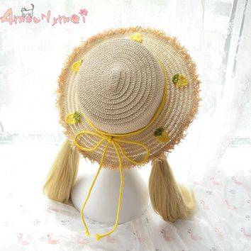 Amourlymei Summer Hats for Women New Fashion Kawaii Pineapple Bow Beach Sun Hat Straw Hat Japanese Style Mori Girl Lolita Hats
