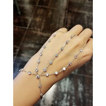 White Zircon Double Finger Slave Bracelet Adjustable Hand Chain| 925 Sterling Silver