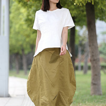 Romantic Pretty Linen Bud Long Maxi Skirt  - CF014