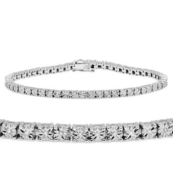 Diamond Tennis Bracelet in Sterling Silver 1/5 ct. tw. measuring 7 1/4 In.