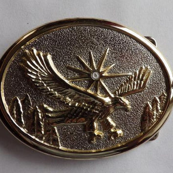 Gold and Silver Tone American Flying Eagle Belt Buckle with Diamond