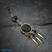 Golden Black Dreamcatcher Belly Button Ring